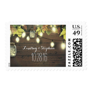Rustic String Lights Mason Jars Fall Wedding Postage
