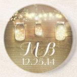 "Rustic String Lights Mason Jars Wedding Sandstone Coaster<br><div class=""desc"">rustic wedding coasters featuring mason jars and string lights illustrated on the wood texture background</div>"