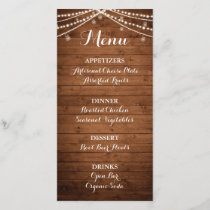 Rustic String Lights | Menu Card