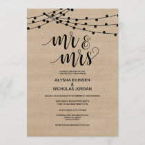 Rustic string lights Mr and Mrs Wedding Invitation