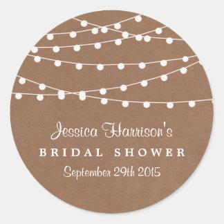 Rustic String Lights On Kraft Bridal Shower Classic Round Sticker