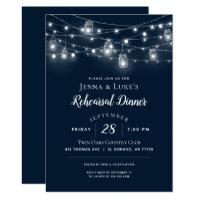 Rustic String Lights Rehearsal Dinner Invitation