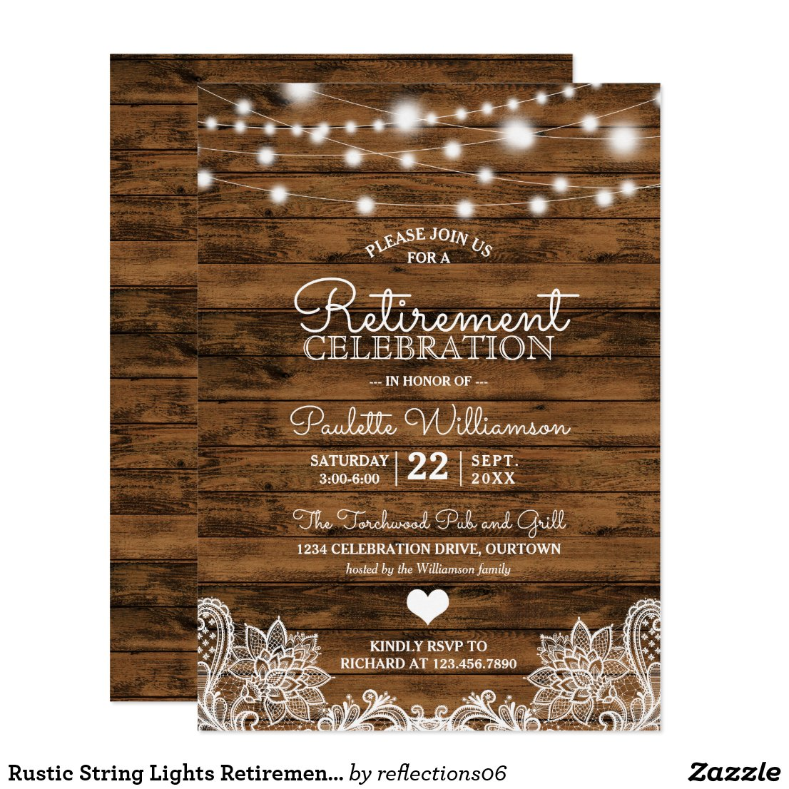 Rustic String Lights Retirement Party Invitation
