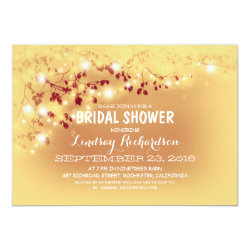 Rustic String Lights Romantic Bridal Shower 5x7 Paper Invitation Card