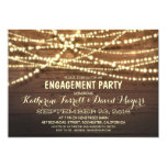 Rustic String Lights Romantic Engagement Party Card