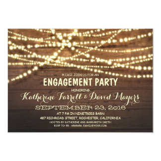 Rustic String Lights Romantic Engagement Party 5x7 Paper Invitation Card