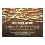Rustic String Lights Romantic Rehearsal Dinner Card