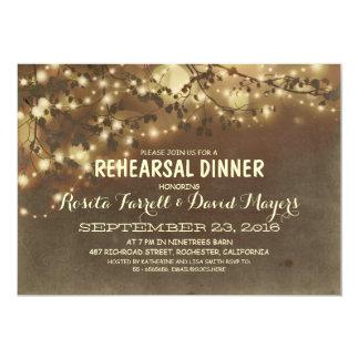"Rustic String Lights Romantic Rehearsal Dinner 5"" X 7"" Invitation Card"