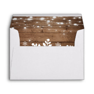 Rustic String Lights Snowflakes Christmas Holiday Envelope