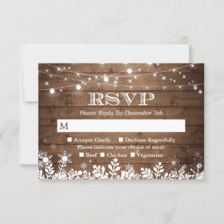Rustic String Lights Snowflakes Winter RSVP