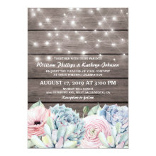 Rustic String Lights Succulent Floral Wedding Invitation