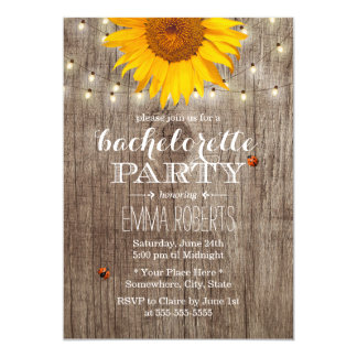 Rustic String Lights Sunflower Bachelorette Party Card