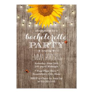 Rustic String Lights Sunflower Bachelorette Party Invitation