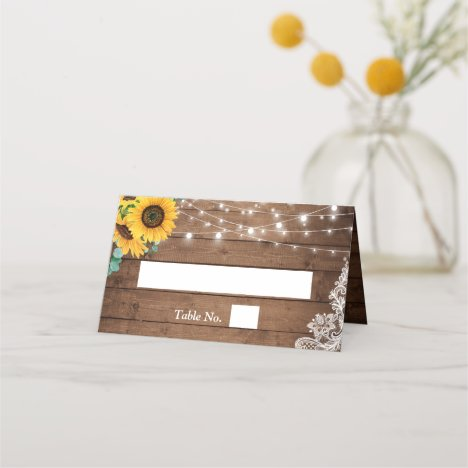 Rustic String Lights Sunflower Eucalyptus Wedding Place Card