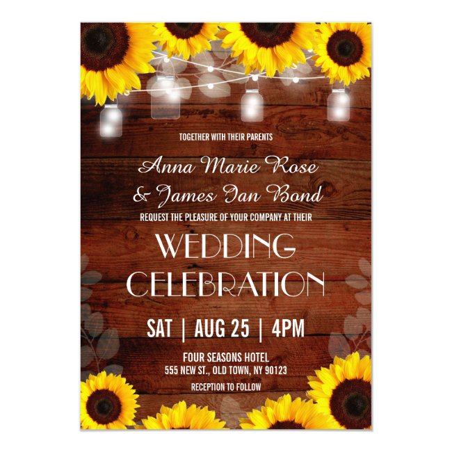 Rustic String Lights Sunflower Wedding Cards