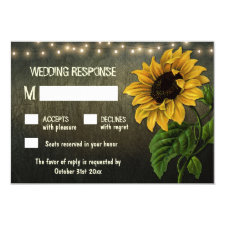 Rustic String Lights Sunflower Wedding RSVP Cards