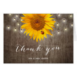 Rustic String Lights & Sunflower Wedding Thank You Card