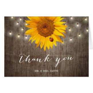 Rustic String Lights & Sunflower Wedding Thank You Card