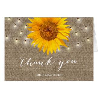 Rustic String Lights Sunflower Wedding Thank You Card