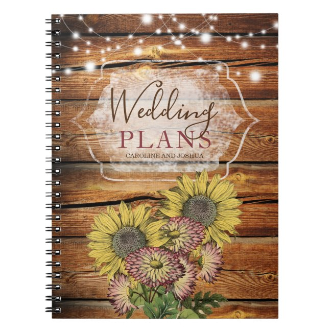 Rustic String Lights Sunflowers Wedding Planner Notebook