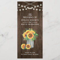 Rustic String Lights Sunflowers Wedding Program