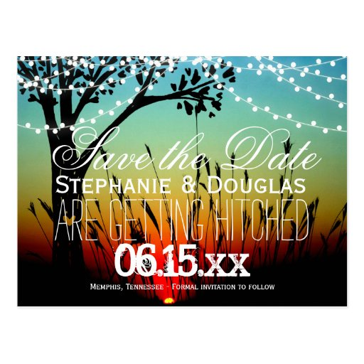 Zazzle String Lights : Rustic String Lights Sunset Save the Date Postcard Zazzle