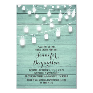 Rustic String Lights Teal Bridal Shower Card