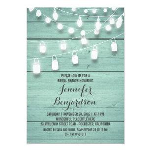 rustic string lights teal bridal shower invitation