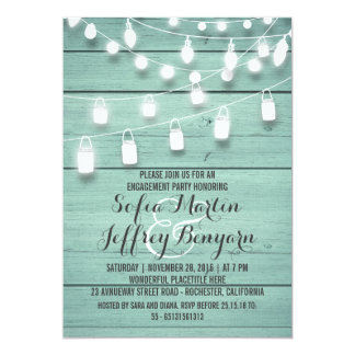 Rustic String Lights Teal Engagement Party Card