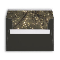 Rustic String Lights Tree Branch Country Wedding Envelope