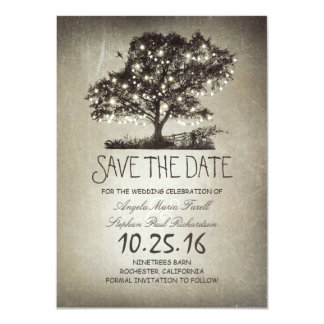 Rustic string lights tree save the date cards