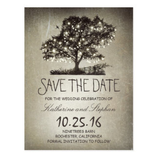 Rustic string lights tree vintage save the date postcard