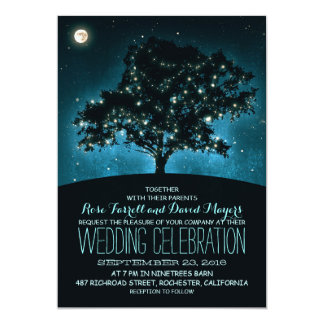 "Rustic String Lights Tree Wedding Invitation 5"" X 7"" Invitation Card"