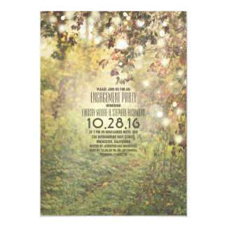 Rustic string lights trees path engagement party card