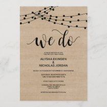 Rustic string lights We Do Wedding Invitation Card