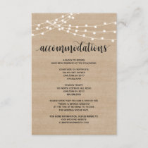 Rustic string lights wedding accommodations card