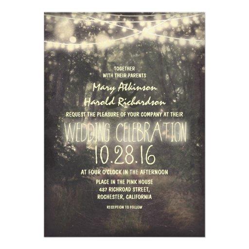 String Lights Wedding Invitation : rustic string lights wedding invitation