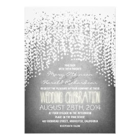 rustic string lights wedding invitations