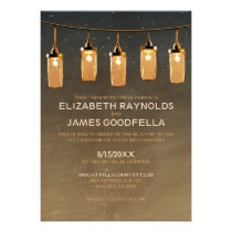 Rustic String Lights Wedding Invitations Personalized Invites
