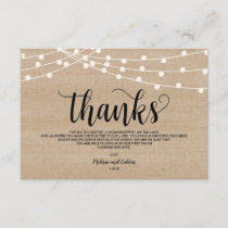Rustic string lights wedding Thank You card