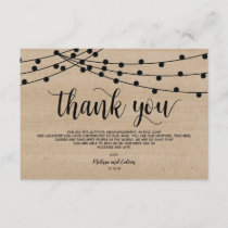 Rustic string lights wedding Thank You card design
