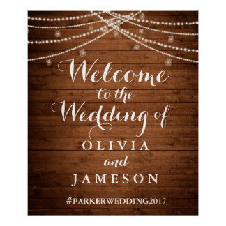 Rustic String Lights Wedding Welcome Poster