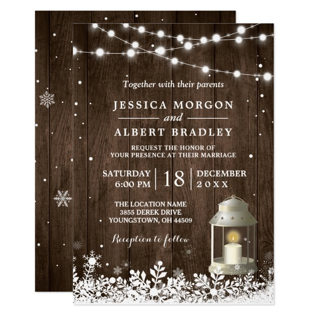 Rustic String Lights White Lantern Winter Wedding Card
