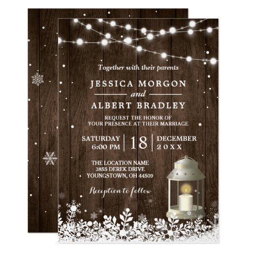 Rustic String Lights White Lantern Winter Wedding Invitation
