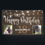 "Rustic String Lights Wood 18th Birthday Photo Banner<br><div class=""desc"">Rustic String Lights on Wood Birthday Banner to announce their 18th birthday in style! Rustic wood siding and string lights set off space for your custom text and TWO photos! Great for birthday parties and receptions! Easy to customize with text, fonts, and colors. You can even change the color of...</div>"