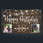 """Rustic String Lights Wood 18th Birthday Photo Banner<br><div class=""""desc"""">Rustic String Lights on Wood Birthday Banner to announce their 18th birthday in style! Rustic wood siding and string lights set off space for your custom text and TWO photos! Great for birthday parties and receptions! Easy to customize with text, fonts, and colors. You can even change the color of...</div>"""