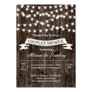 Rustic string lights wood wedding couples shower card