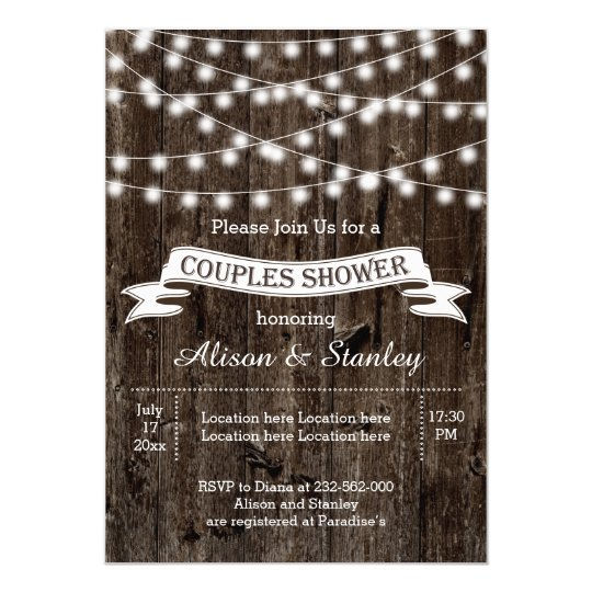 Rustic string lights wood wedding couples shower card – Couples Shower Wedding Invitations