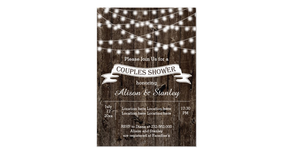 Rustic Metal String Lights : Rustic string lights wood wedding couples shower card Zazzle