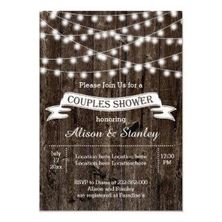 Rustic string lights wood wedding couples shower invitation
